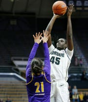 Fatou Diagne of Purdue with a shot over Grace Gilmore of Western Illinois Thursday, November 15, 2018, at Mackey Arena. Purdue defeated Western Illinois 81-60.