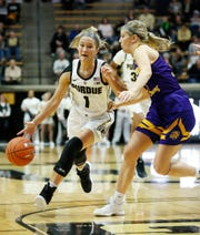 Karissa McLaughlin of Purdue with a drive from the top of the key against Annabel Graettinger of Western Illinois Thursday, November 15, 2018, at Mackey Arena. Purdue defeated Western Illinois 81-60.