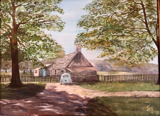Marilyn Lawson moved from Scotland to Crowley, Louisiana, on Thanksgiving Day 1969. She and husband Larry Lawson, a Crowley native, met when he was stationed in Scotland with the U.S. Navy. This is a painting of their home for the six months the married couple lived in Scotland.