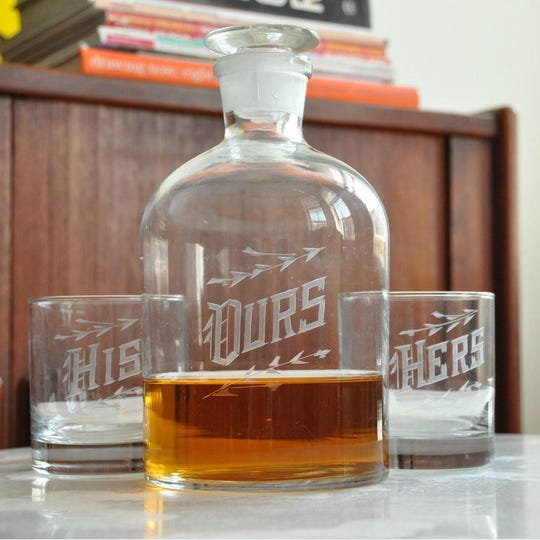 This his and hers decanter set is perfect for the bourbon drinkers on your gift list.