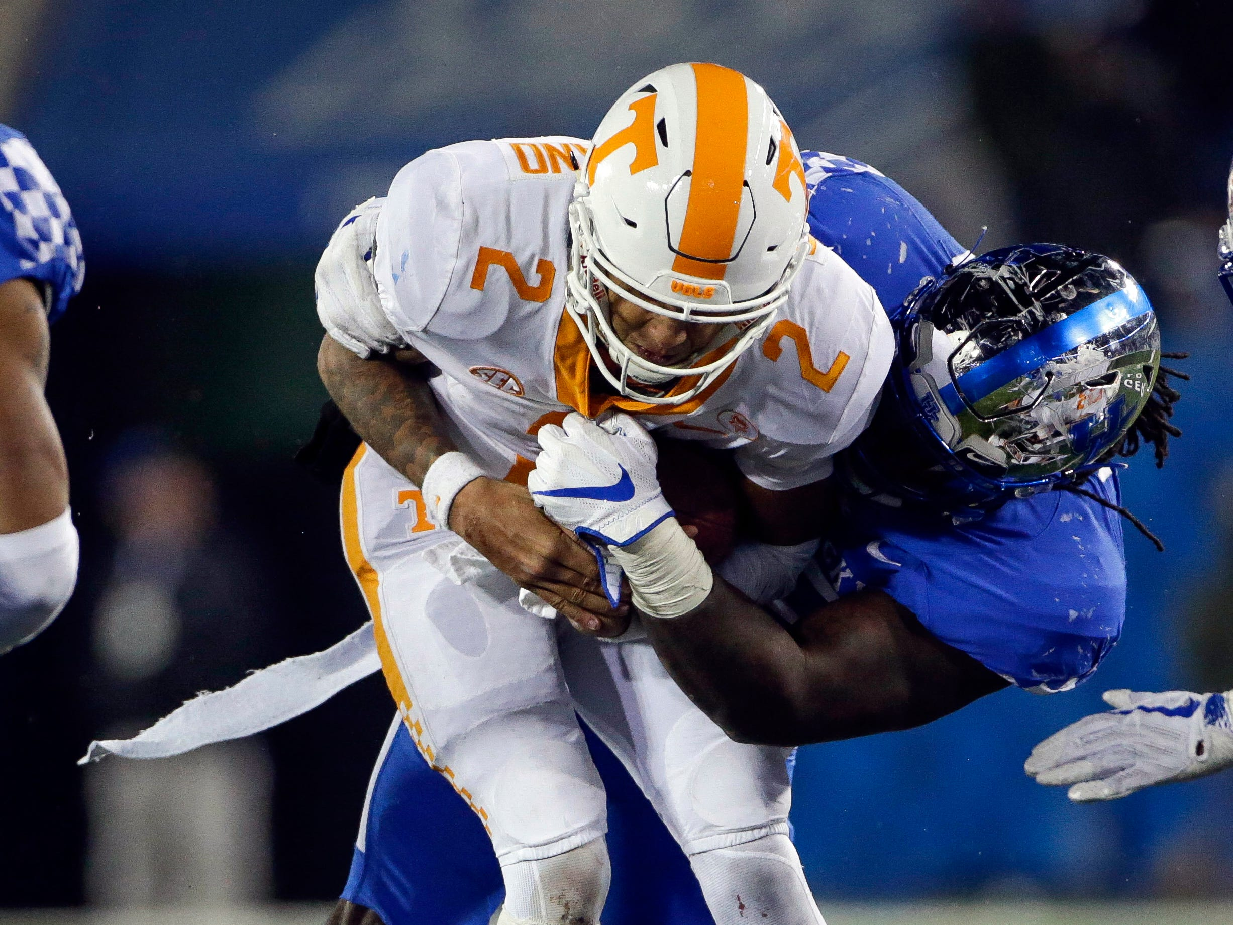 In this Saturday, Oct. 28, 2017, file photo, Kentucky defensive tackle Adrian Middleton sacks Tennessee quarterback Jarrett Guarantano during the second half of an NCAA college football game in Lexington, Ky.