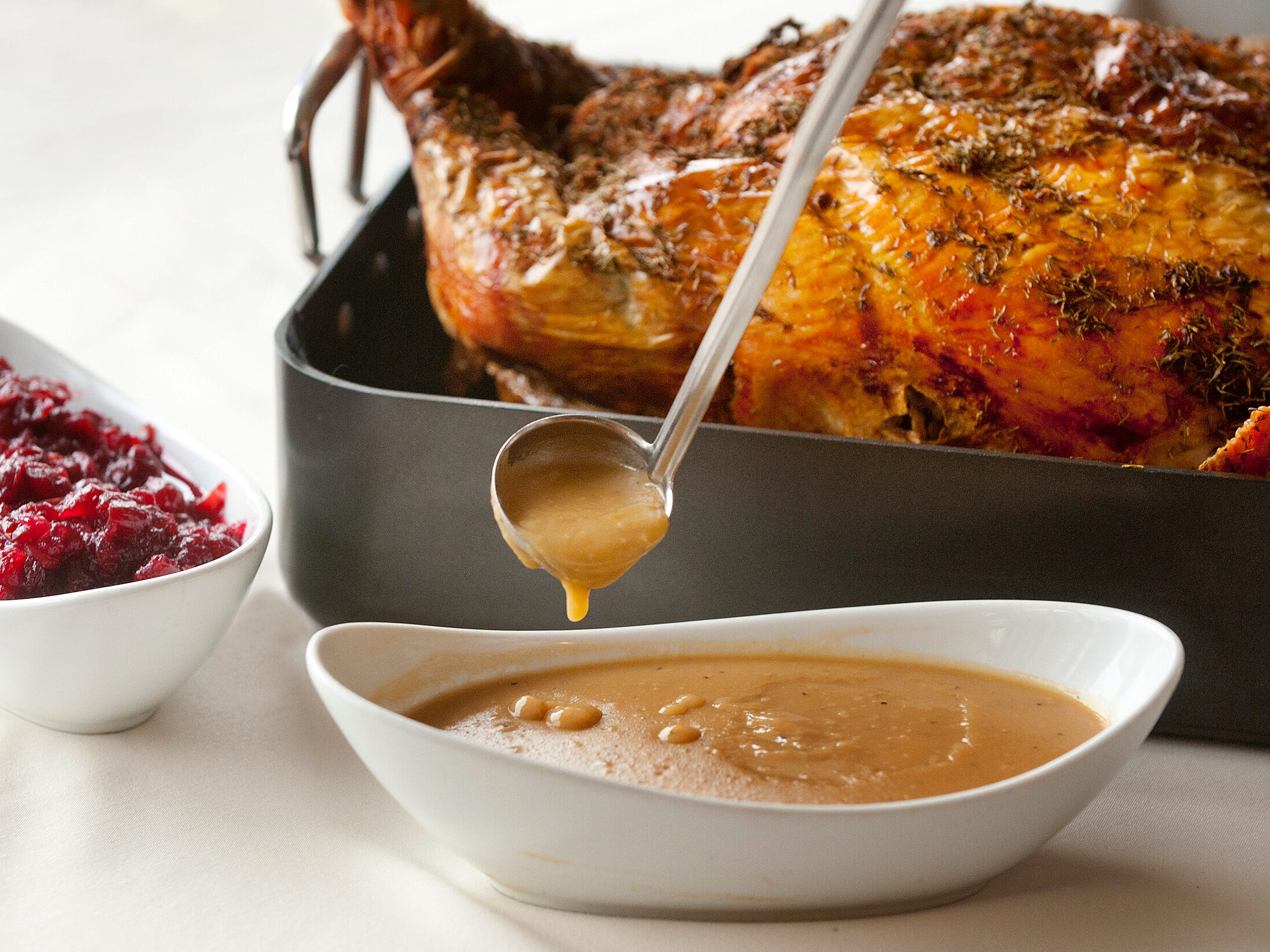 Varanese restaurant owner and executive chef John Varanese's turducken gravy is made with all three turducken bones (turkey, duck and chicken) that have been cooked for hours in an oven then the juices are thickened with flour to make a brown roux. November 14, 2018