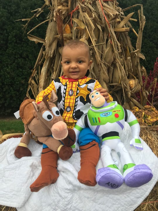 Josh Allen's son, Wesley, dressed up as Woody from Toy Story for Halloween.