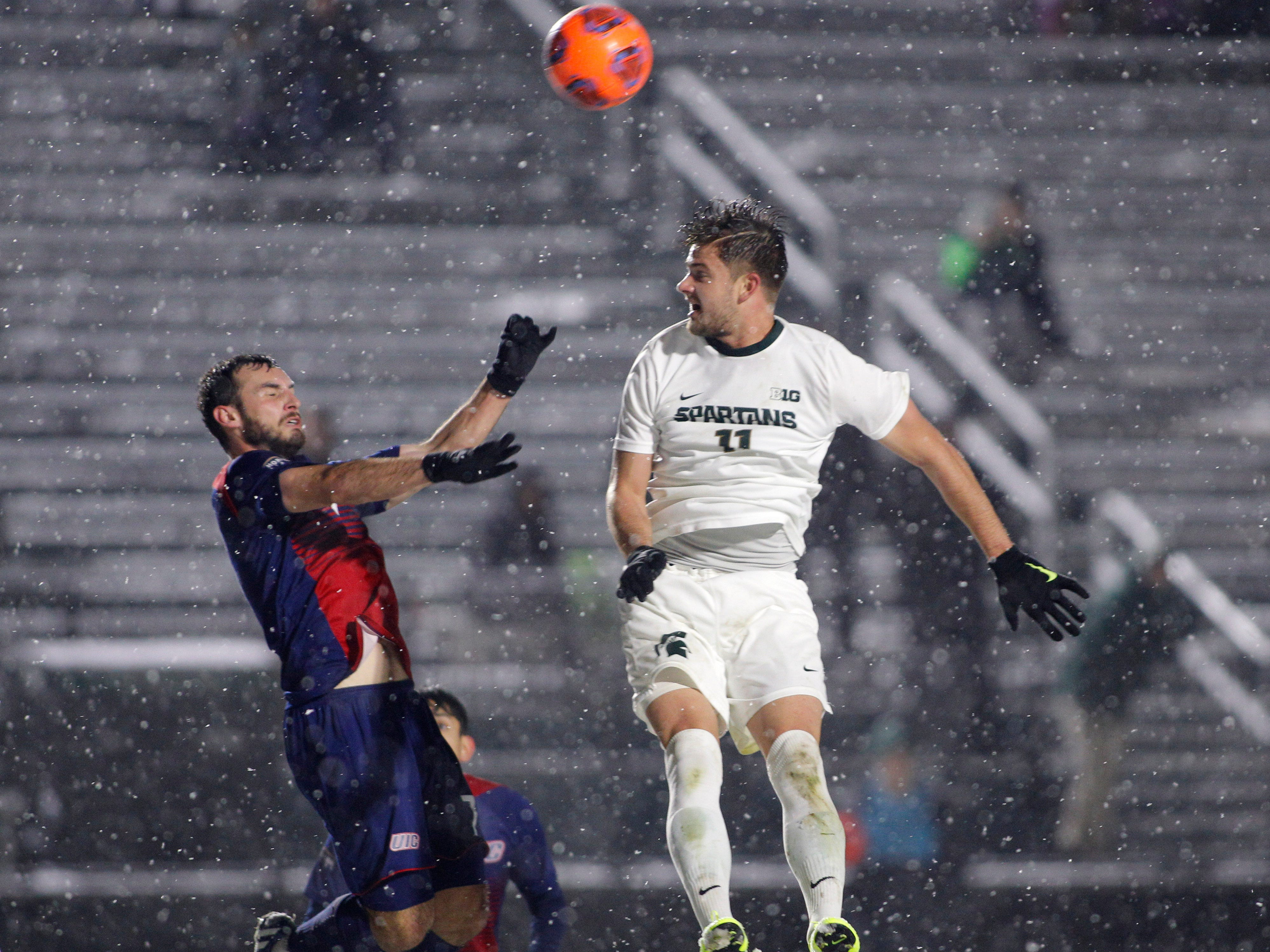 Michigan State's Ryan Sierakowski, right, and Illinois-Chicago's Max Todd vie for a header during their NCAA first round game, Thursday, Nov. 15, 2018, at DeMartin Stadium in East Lansing, Mich. MSU won 2-0.