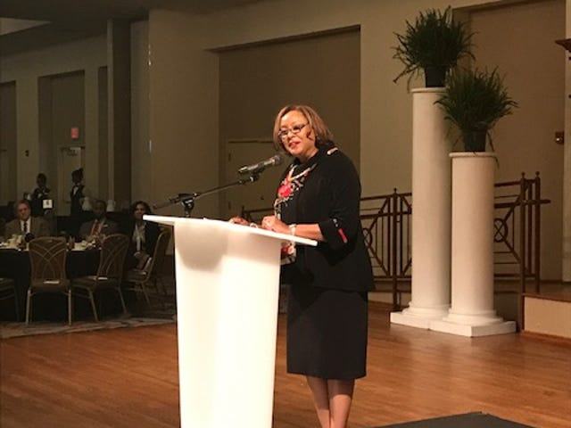Jozelle Luster Booker, president and CEO of MMBC Continuum, delivers remarks at the Robert R. Church Sr. Achievement Awards Luncheon.
