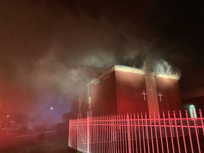 Blessed Trinity Baptist Church caught fire Thursday night.