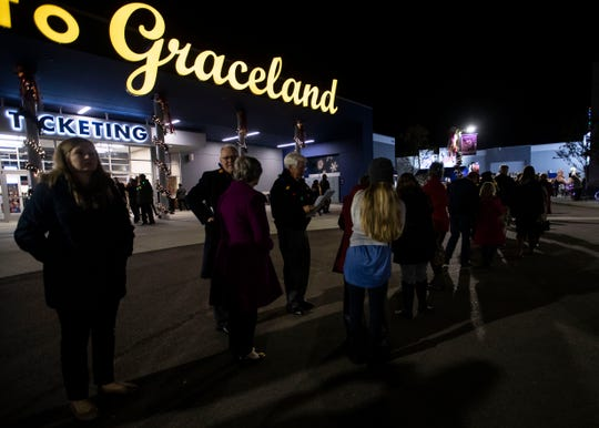 "Hundreds line up outside the theater for the ""Christmas at Graceland"" premiere Nov. 15, 2018."