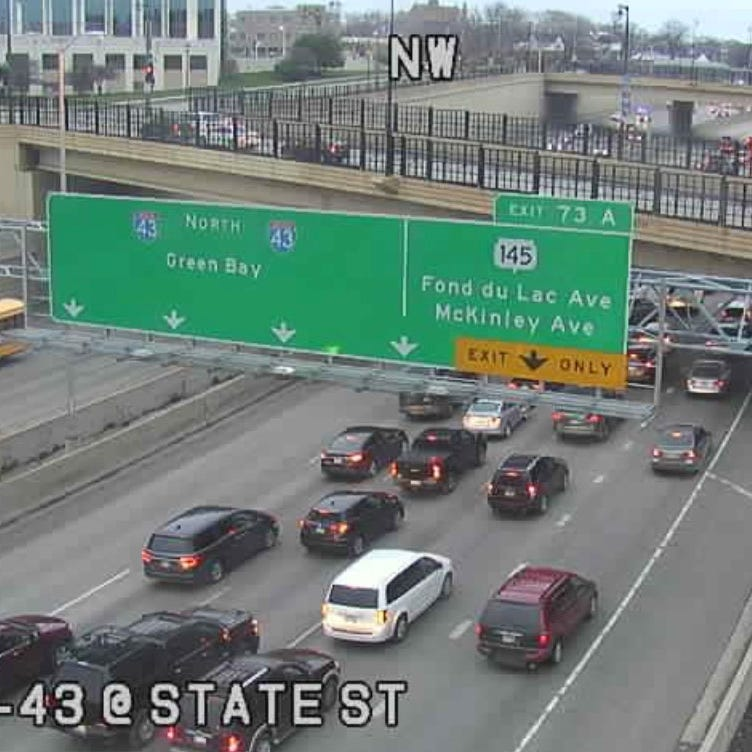Northbound I-43 is closed between Fond du Lac Avenue and Locust Street