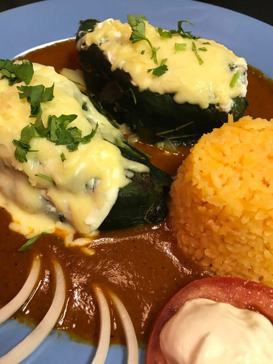Chiles rellenos at Riviera Maya, 2321-2327 S. Kinnickinnic Ave., are topped with cheese and filled with a choice of vegetables or meat.