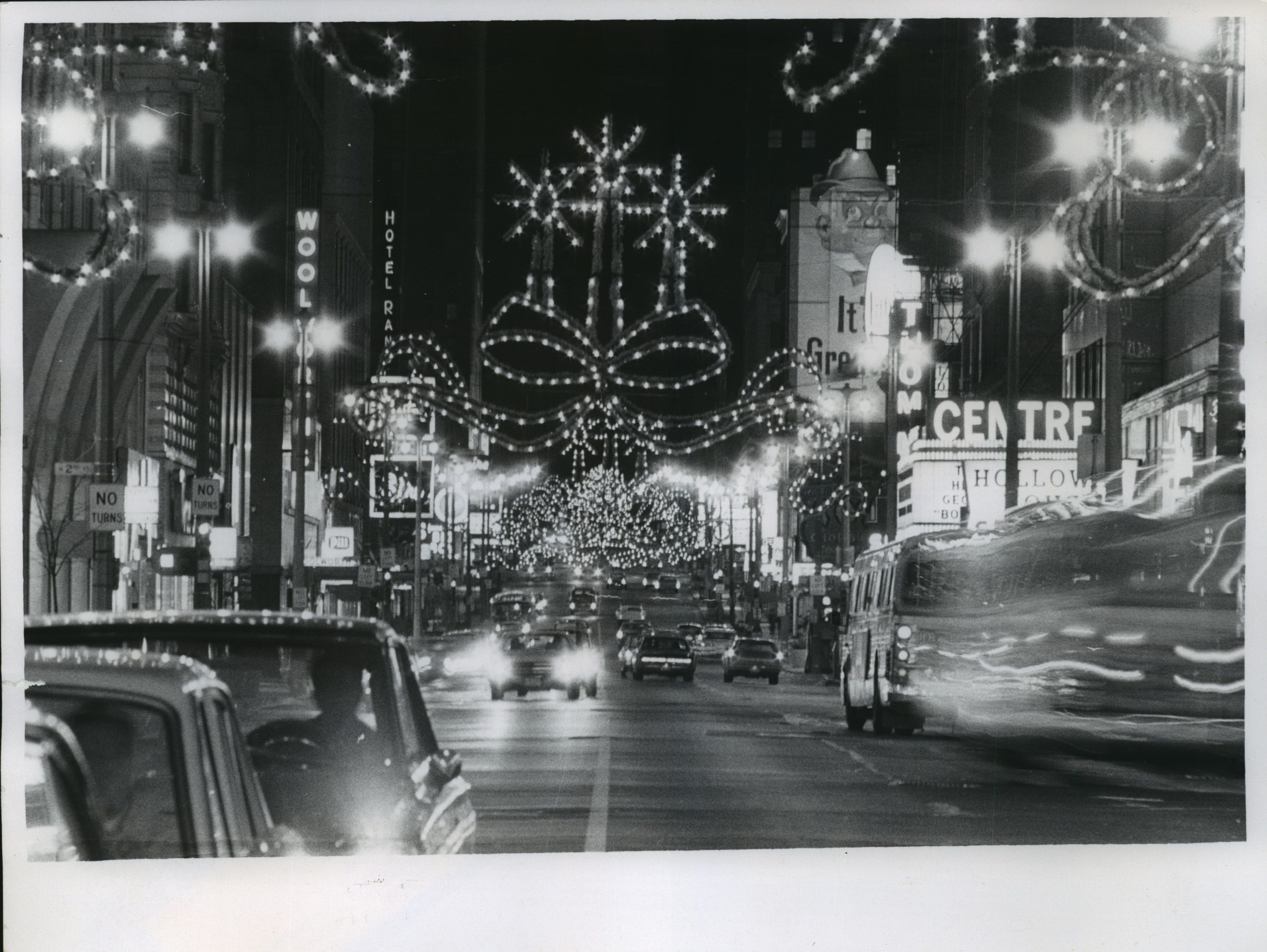 Wisconsin Avenue, seen looking west from Plankinton Avenue, blazes with holiday lights as crews test the displays' circuits on Nov. 19, 1968. The annual downtown Christmas lighting ceremony, sponsored by the Downtown Associaton of Milwaukee, was scheduled for Nov. 22 that year. This photo was published on the front page of the Nov. 20, 1968, Milwaukee Sentinel.