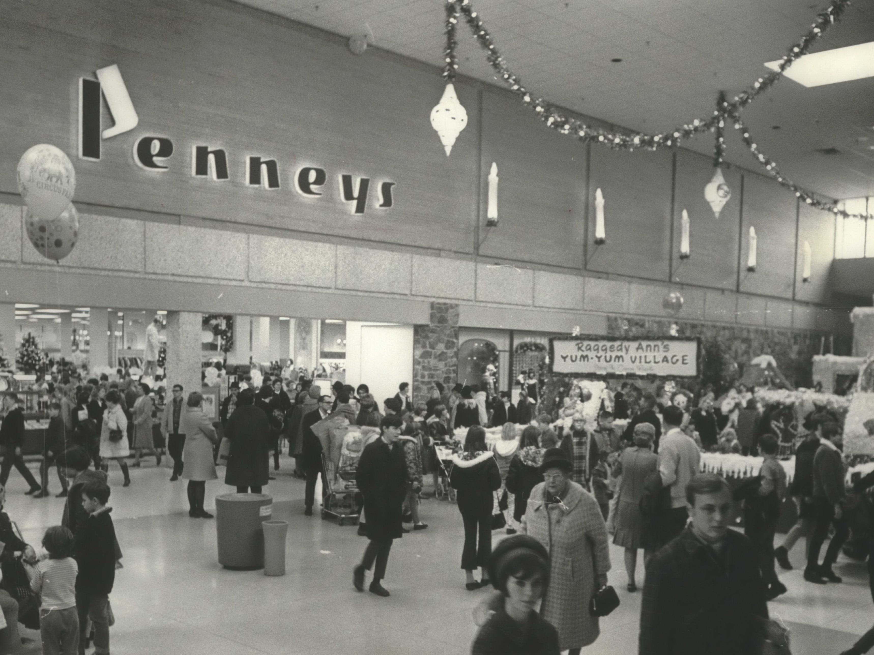 Shoppers at Brookfield Square take their holiday shopping indoors on Nov. 29, 1968. The shopping mall had opened the year before. This photo was published in the Nov. 30, 1968, Milwaukee Journal.