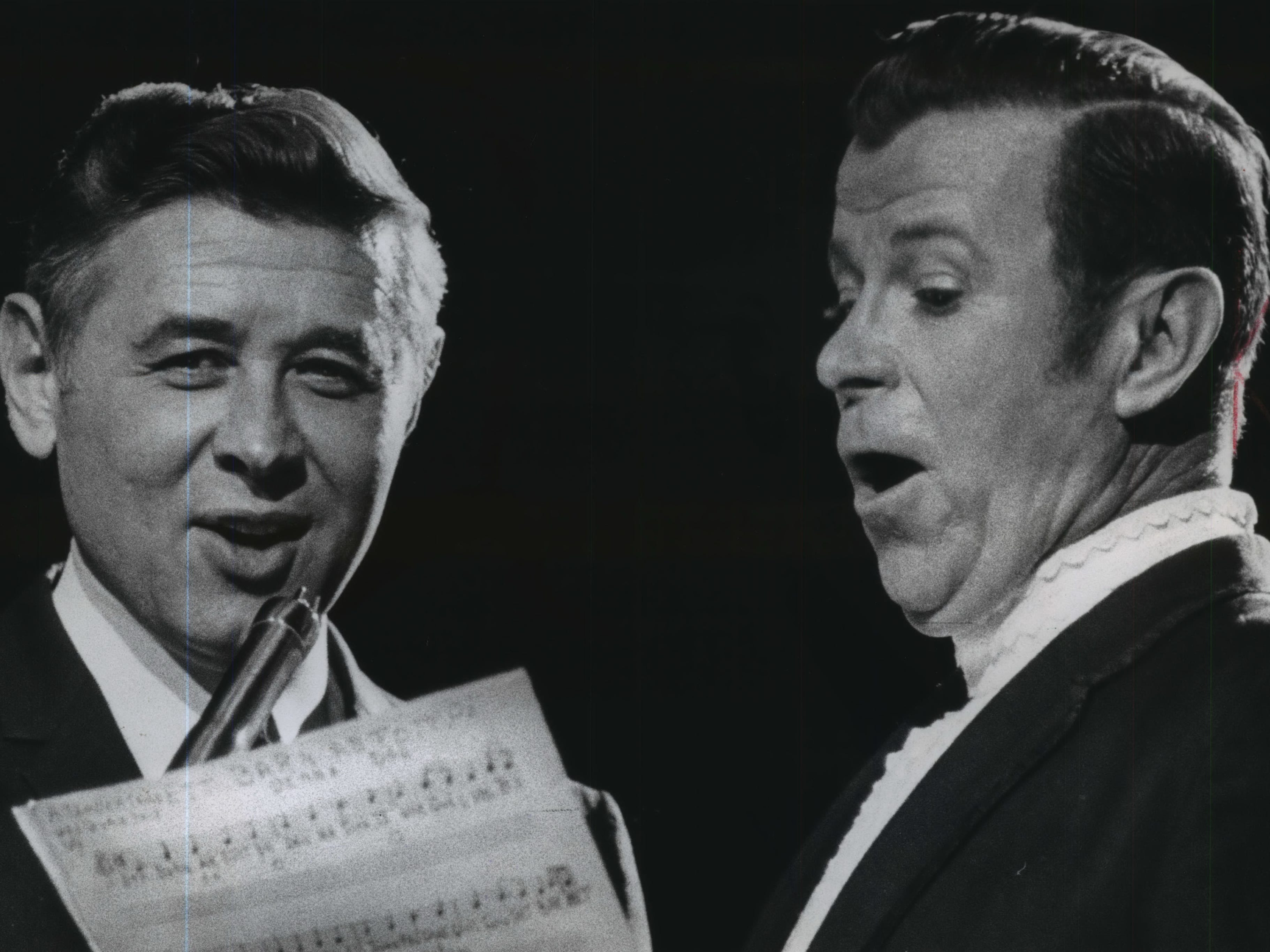 Milwaukee Mayor Henry Maier and singer Dennis Day, one of the stars of Jack Benny's old radio show, join their voices in a German Christmas carol during the city's tree-lighting program on Dec. 1, 1968. Day, a frequent visitor to Milwaukee, was the guest performer on the program, held at the Milwaukee Arena. This photo was published in the Dec. 2, 1968, Milwaukee Journal.