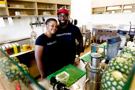 JoAnne and Manaan Sabir at their juice bar, The Juice Kitchen in Sherman Park. JoAnne is co-owner of the Sherman Phoenix project, a place for entrepreneurs in Sherman Park.