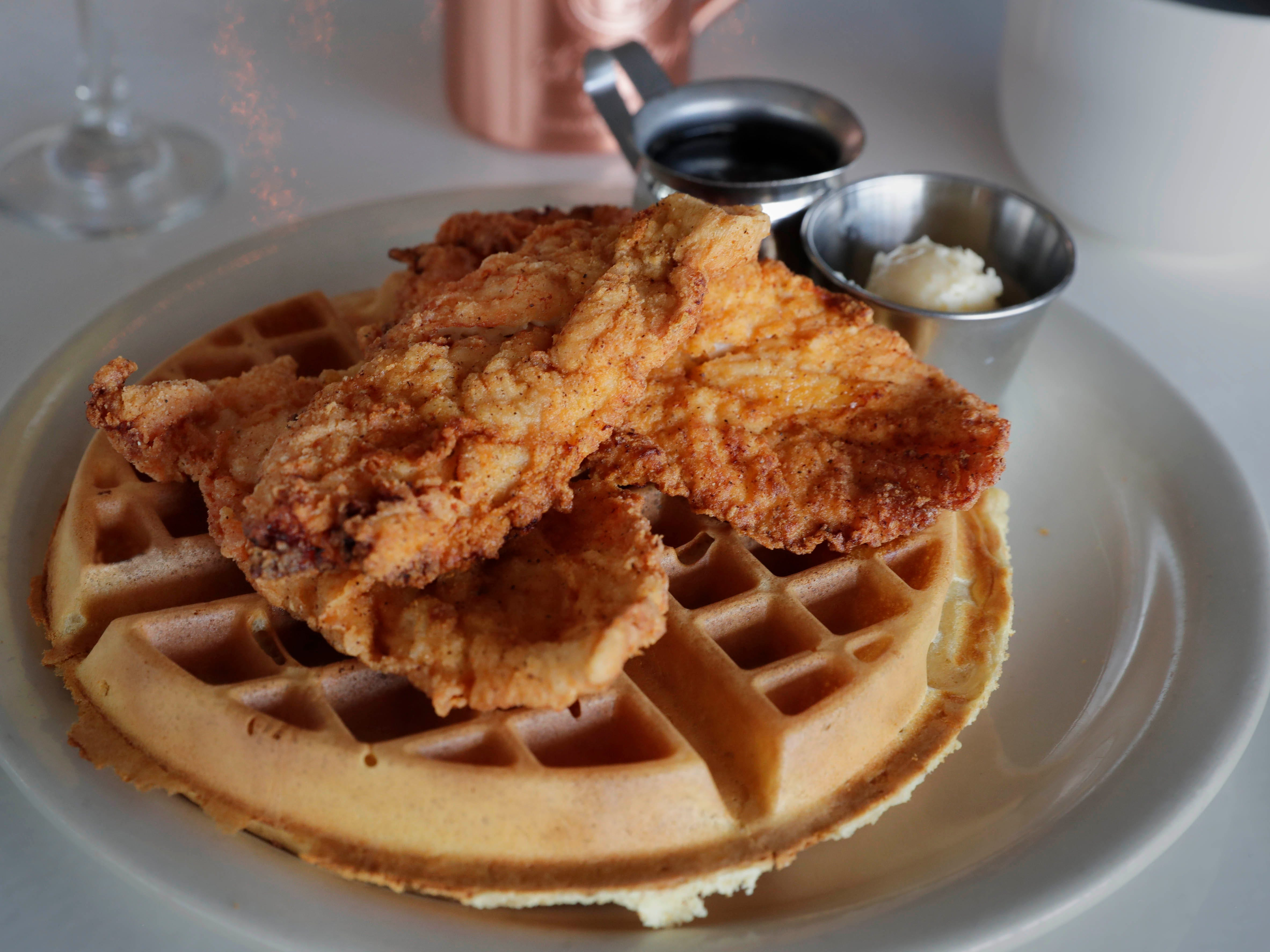 Zisters in Elm Grove serves up a  chicken and waffle breakfast, among other items, for its brunch.