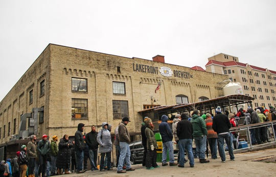 The lines are long but enthusiastic during the annual Black Friday beer release at Lakefront Brewery. The brewery started the Black Friday beer craze.