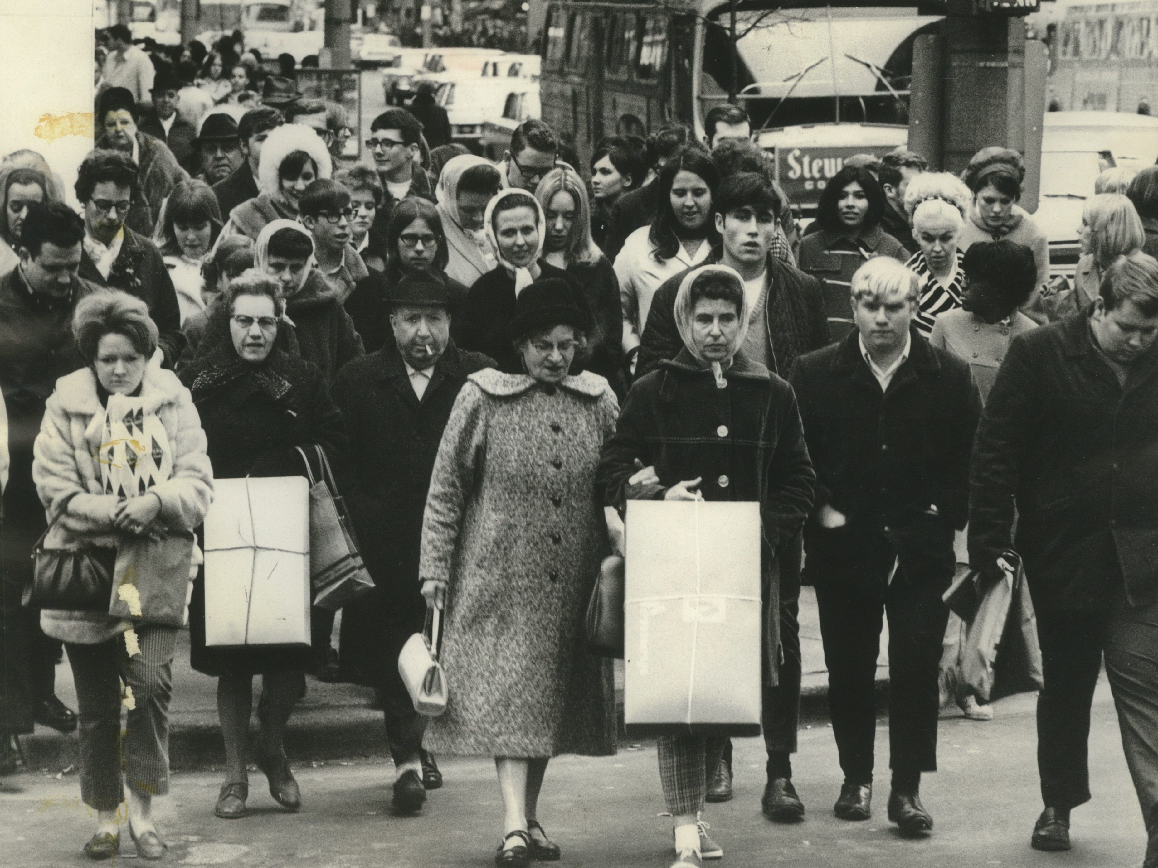 City sidewalks were busy sidewalks on the day after Thanksgiving, as shoppers clogged the walkways along Wisconsin Avenue at Plankinton Avenue on Nov. 29, 1968. This photo was published in the Nov. 30, 1968, Milwaukee Journal.
