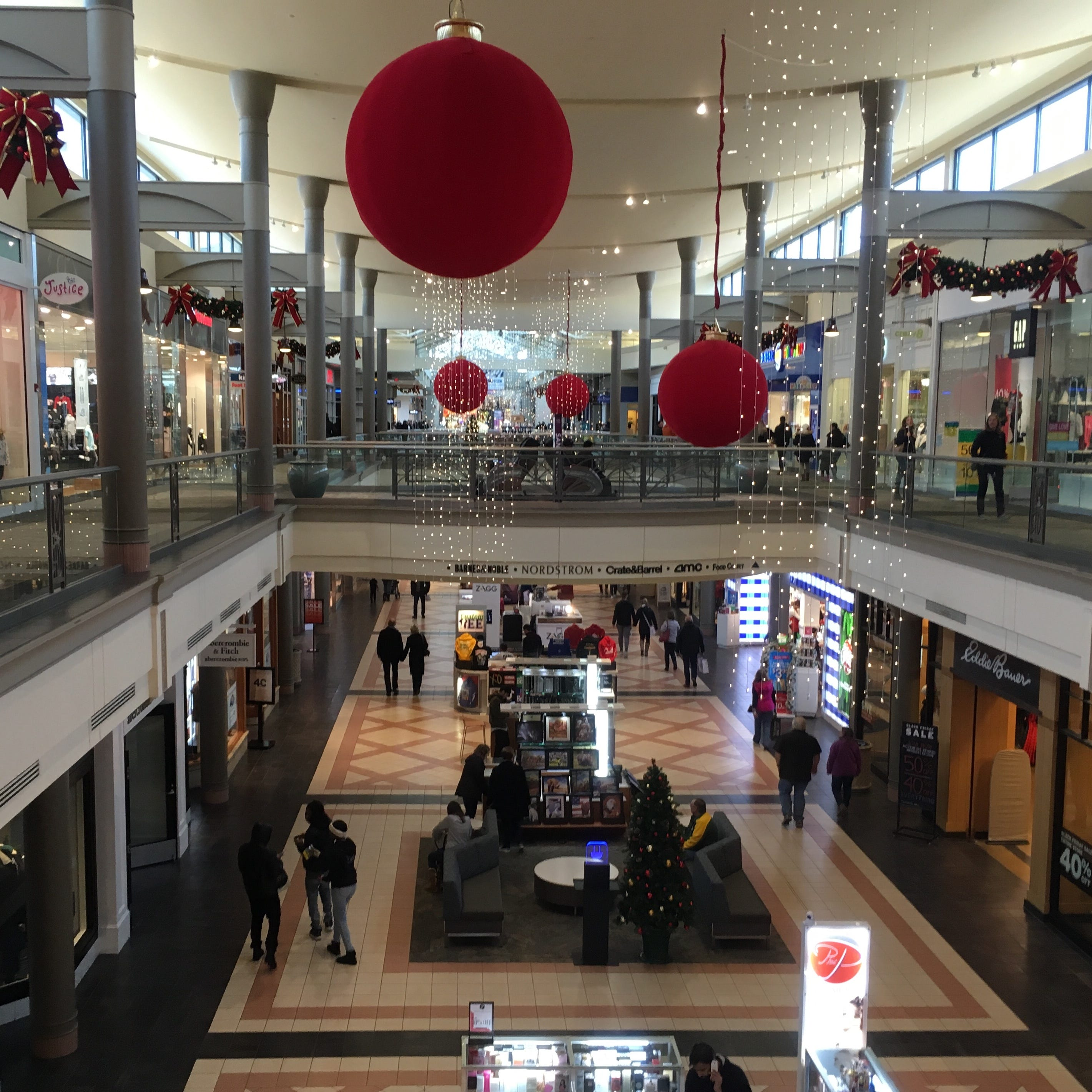 Mayfair mall, decorated for the holidays, will open at 6 p.m. Thanksgiving. More than half of the mall's stores are expected to be open for business that night.