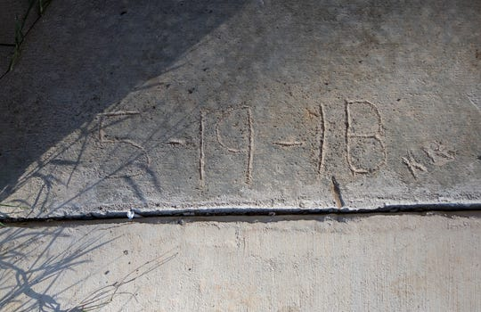 "The inscribed date reads ""5-19-18"" to commemorate the pouring of concrete to connect the new fellowship hall to the chapel at Wesley Chapel in West Monroe, La. on Nov. 15. The new fellowship hall is named Renfroe Hall."