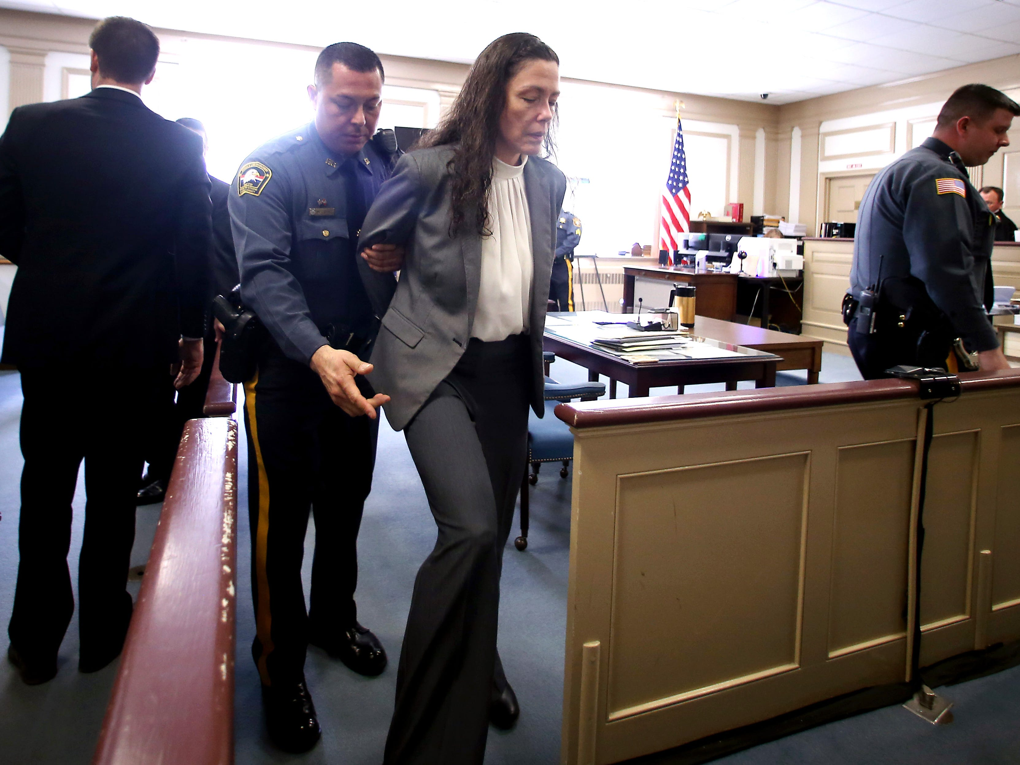 Virginia Vertetis is led from the courtroom after a jury deliberating over two days found her guilty of murder in Morris County Superior Court Monday. Prosecutors contended that Vertetis purposely shot Patrick Gilhuley at her Mount Olive home in 2014 out of desperation that he was breaking up with her. April 3, 2017, Morristown, NJ