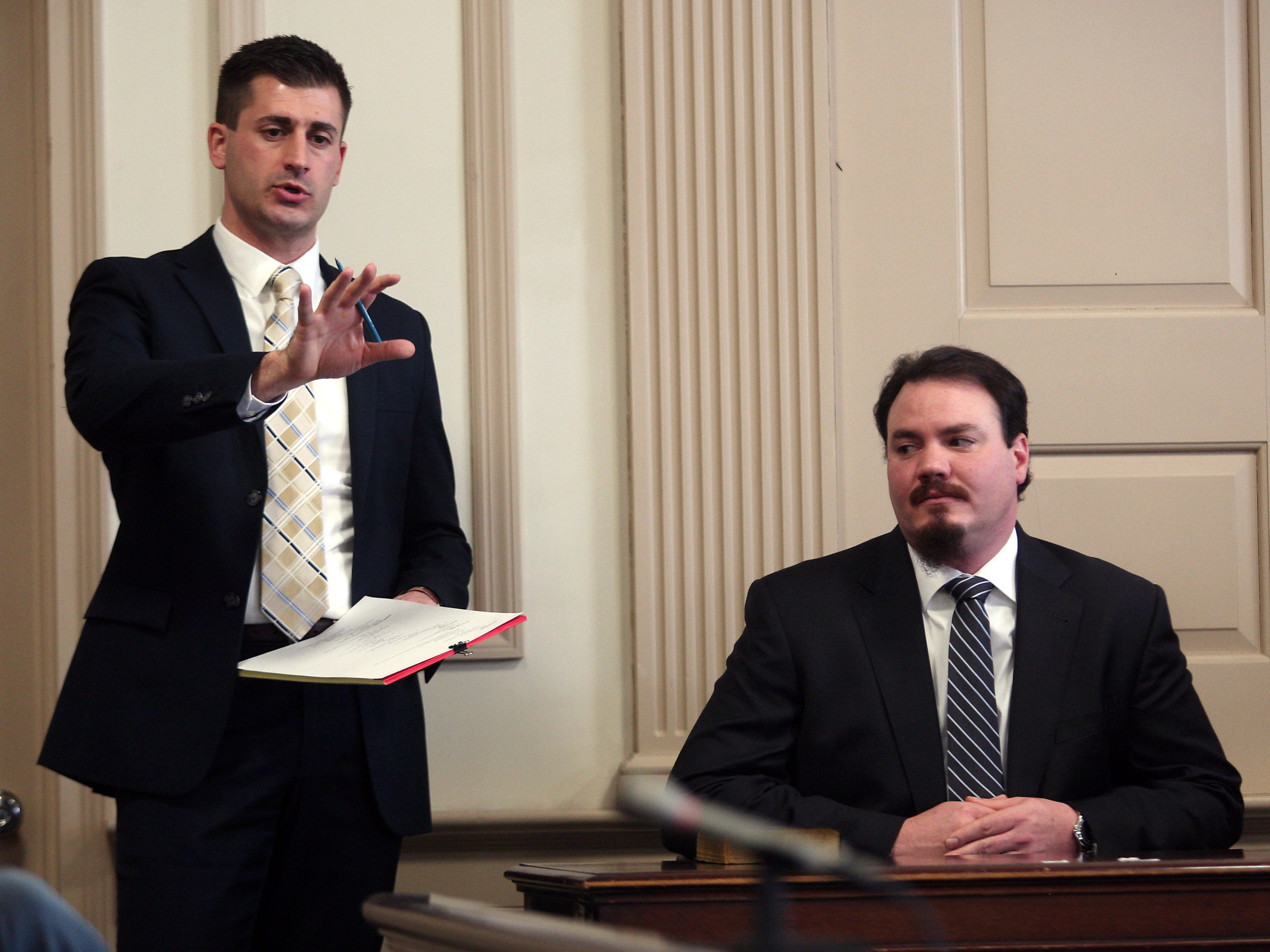 Morris County Assistant Prosecutors Matthew Troiano on direct examination of states witness Michael Becker during the murder trial of Kashif Parvaiz, accused of killing his wife Nazish Noorani in August 2011. February 4, 2015. Morristown, N.J. Bob Karp/Staff Photographer.