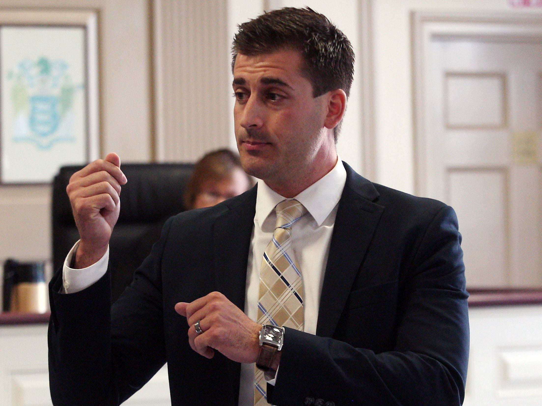 Morris County Assistant Prosecutor Matthew Troiano describes the attack during his opening in Morristown Superior Court on day one at the trial of Ramon Pacheco on charges of murdering Edwin Alexander Chavez during a fight at a Dover bar in 2011. July 17, 2014, Morristown, NJ. Photo by Bob Karp
