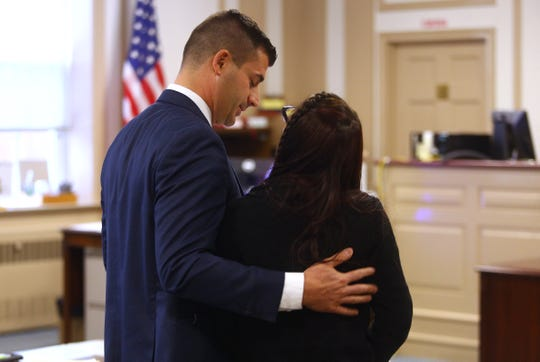 Chief Assistant Prosecutor Matthew Troiano comforts Nicole Regan after he read her victim impact statement during the sentencing of Maurice Pearson, who plead guilty to the aggravated manslaughter of his girlfriend's 3-year-old son, Ty'mil Solomon in April 2015 in a Montville motel room. November 16, 2018, Morristown, NJ