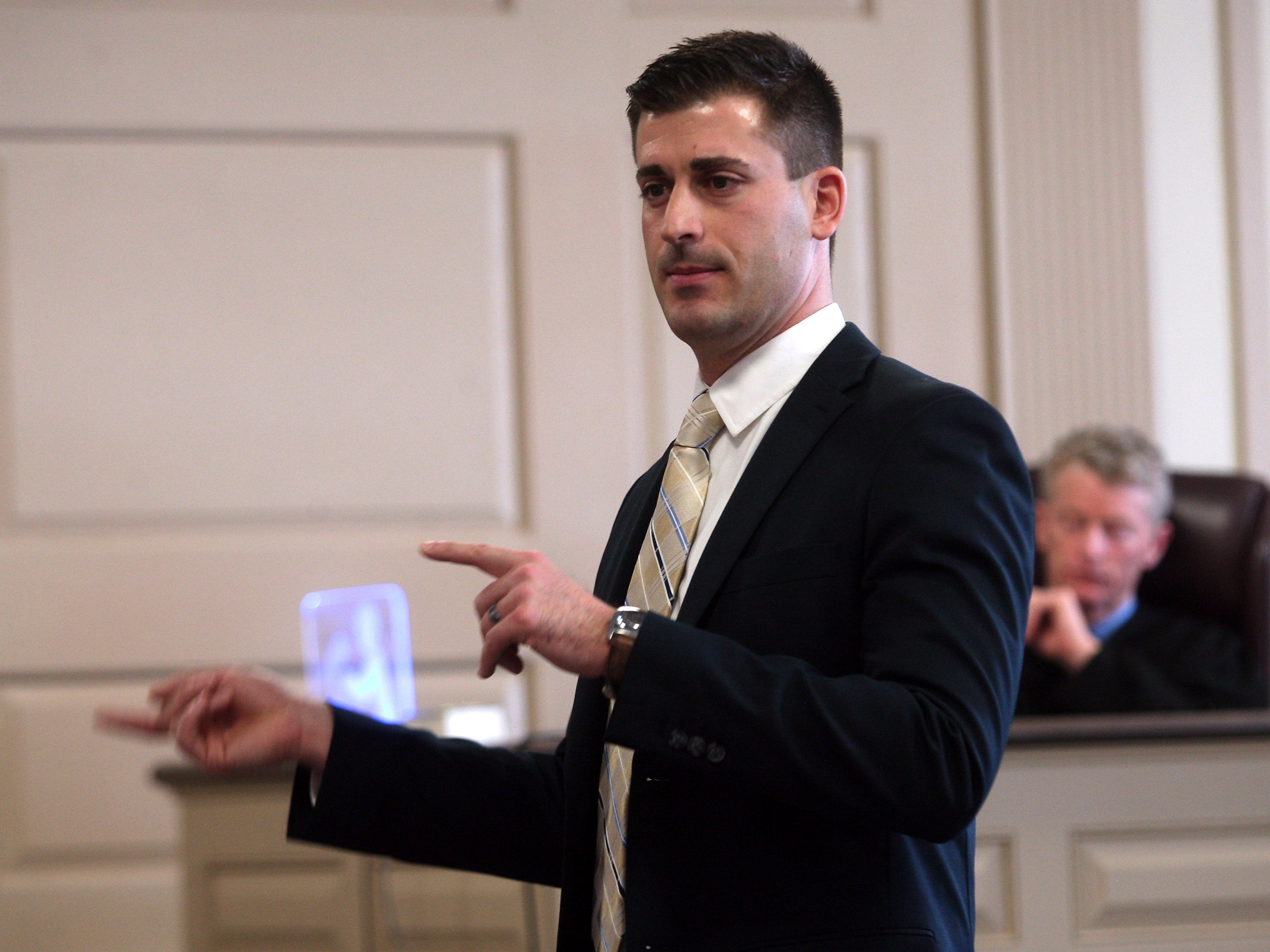 Morris County Assistant Prosecutors Matthew Troiano gestures during opening statements in the murder trial of Kashif Parvaiz, accused of killing his wife Nazish Noorani in August 2011. February 4, 2015. Morristown, N.J. Bob Karp/Staff Photographer.