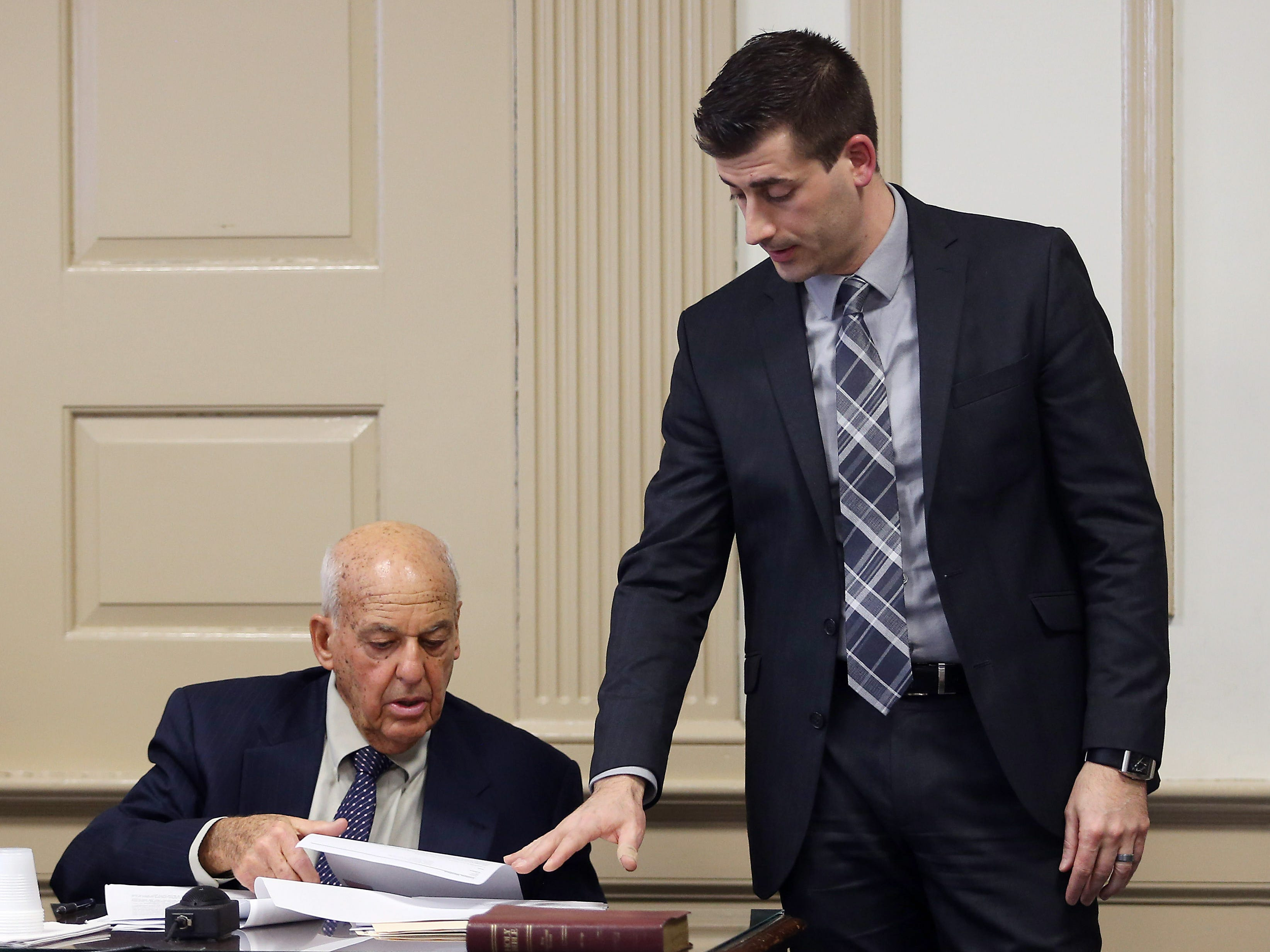 Forensic pathologist Cyril Wecht testifies, questioned on cross examination by assistant prosecutor Matthew Troiano in Morris County Superior Court. Wecht, nationally known because of his involvement in numerous high-profile assassination cases was hired by the defense as an expert witness for the Virginia Vertetis murder trial. Vertetis says she fatally shot boyfriend Patrick Gilhuley to death as he tried to beat and choke her at her Mount Olive home in 2014. March 27, 2017, Morristown, NJ