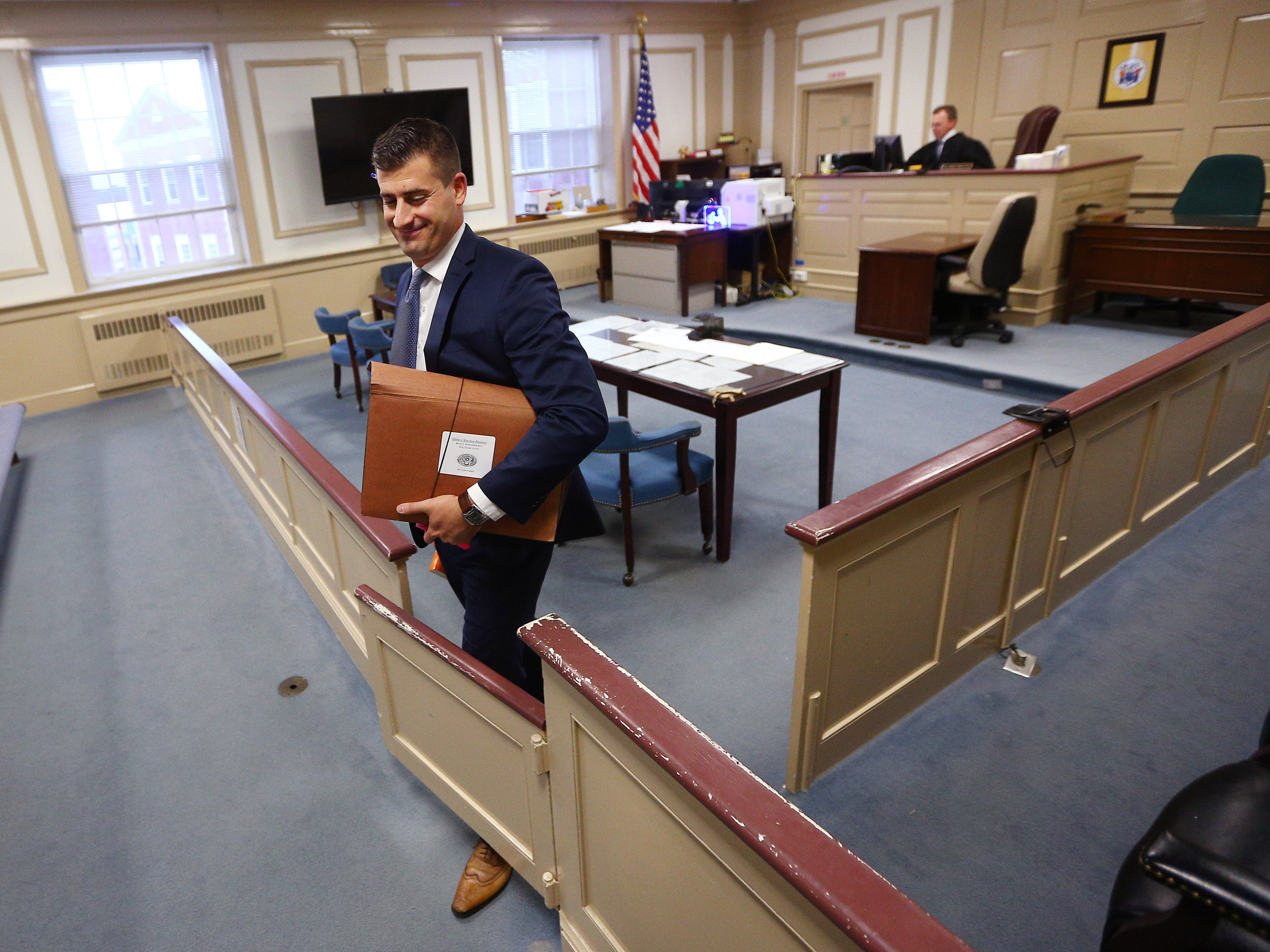 Chief Assistant Prosecutor Matthew Troiano exits the courtroom after the sentencing of Maurice Pearson, who plead guilty to the aggravated manslaughter of his girlfriend's 3-year-old son, Ty'mil Solomon in April 2015 in a Montville motel room. Today was Troiano's final day with the prosecutors office after working there since 2011. November 16, 2018, Morristown, NJ