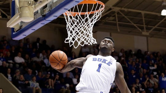 Duke's Zion Williamson (1) drives for a dunk against Eastern Michigan on Wednesday, Nov. 14, 2018, in Durham, N.C.