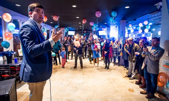 Clay McInnis speaks at his city council campaign kickoff at Moe's BBQ in Montgomery, Ala., on Thursday evening November 15, 2018.