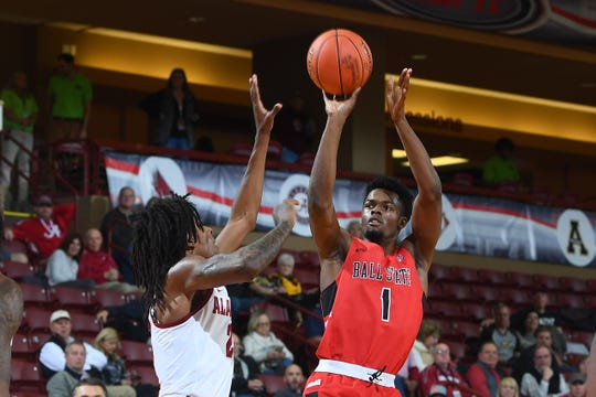 Ball State's K.J. Walton shoots against Alabama on day two of men's basketball action in the 2018 Charleston Classic at TD Arena on Friday, November 16, 2018 in Charleston, South Carolina.