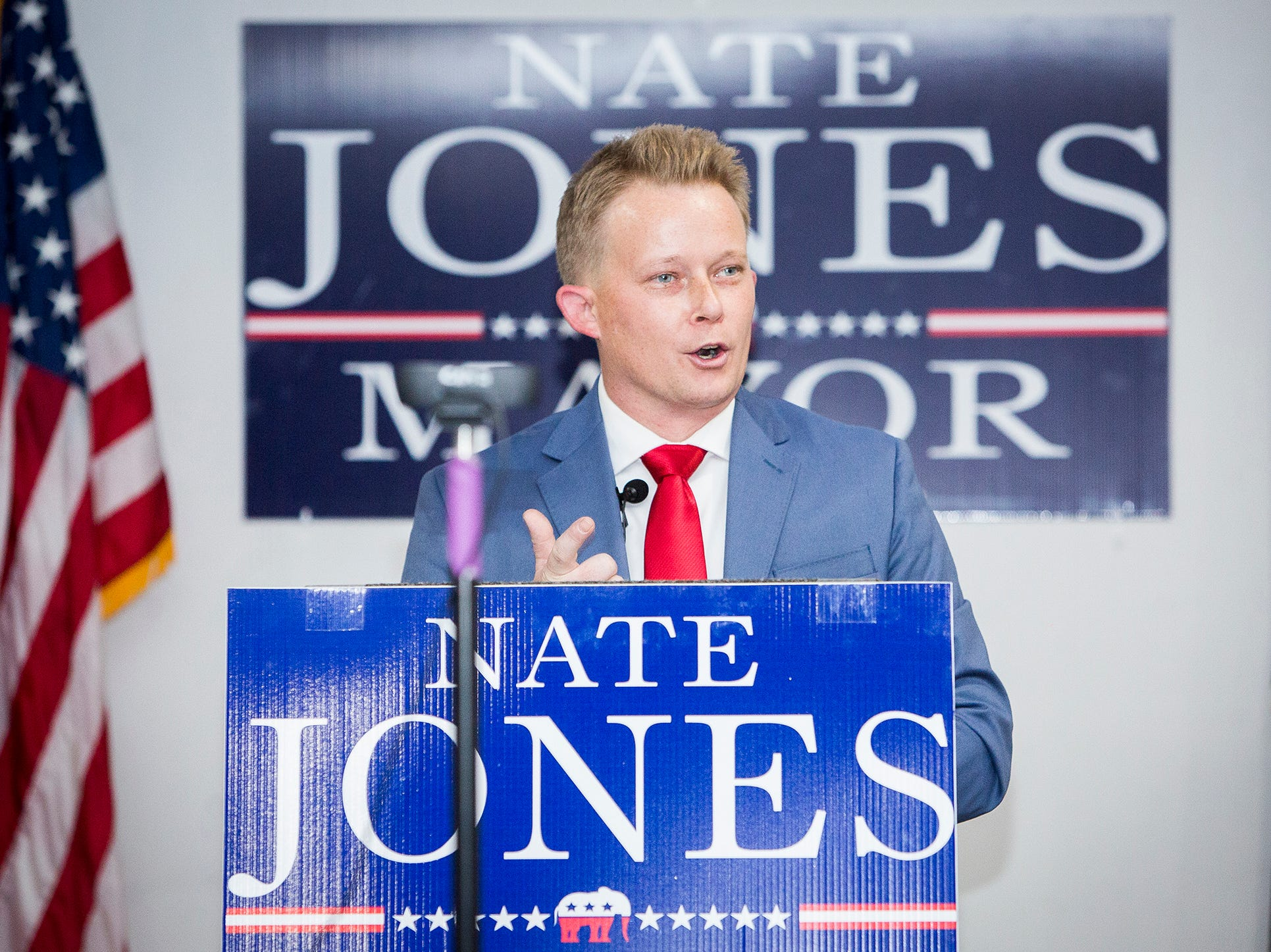 Nate Jones announces his mayoral bid at the American Legion Post 19 in downtown Muncie Thursday evening.