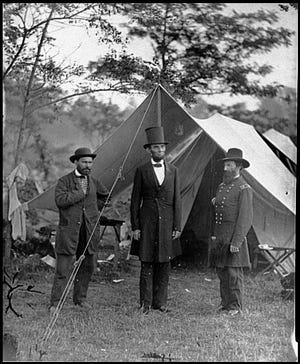 President Abraham Lincoln at Gettysburg where he delivered his famous address.