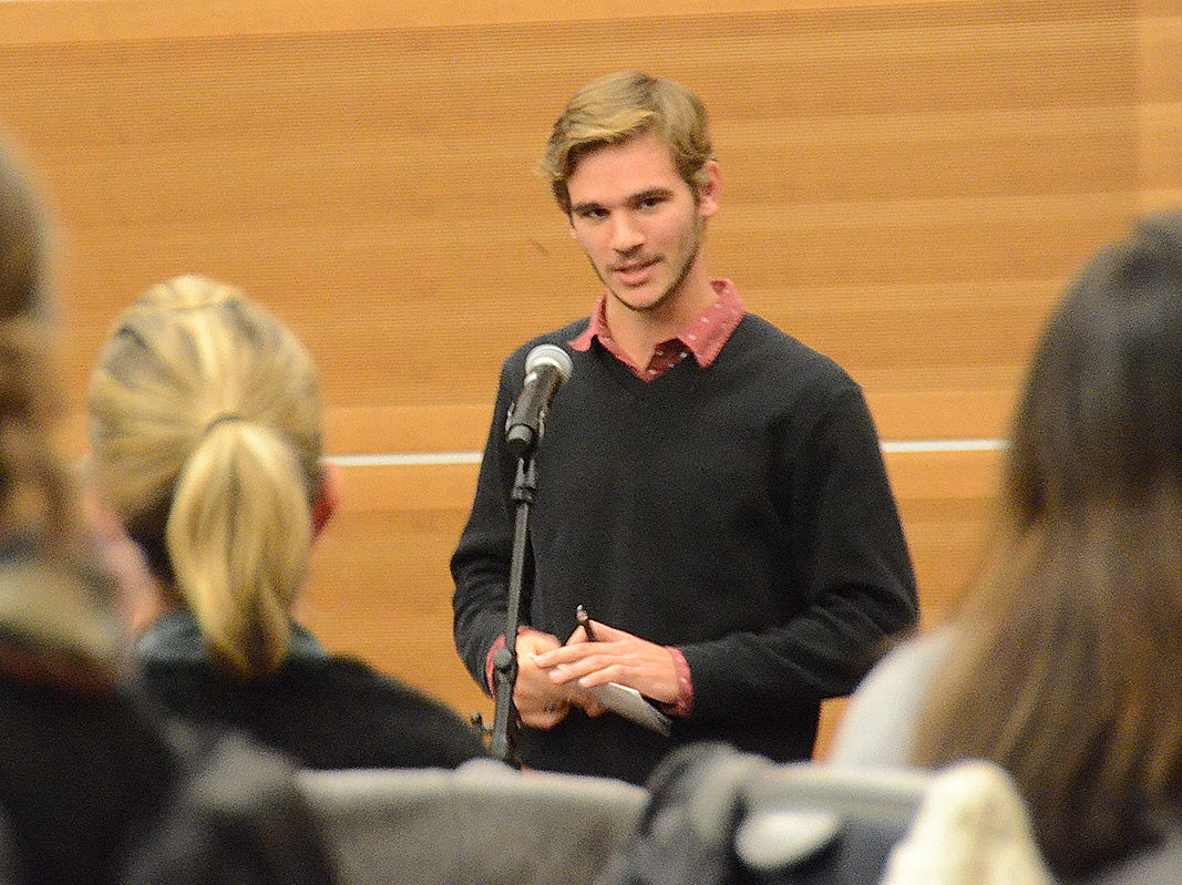 Grant Waldron spoke Thursday night to a group gathered at MTSU to remember Angie Walker, a psychology professor who died in a tornado Nov. 6, 2018.