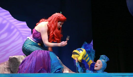 """Catherine  Birdsong and Abbey  Rhyne in NCT's production of """"The Little Mermaid."""""""