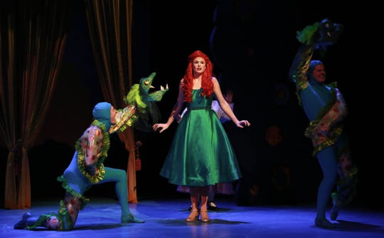 """C.  James  Bare, Catherine Birdsong and Jack Tanzi in NCT's production of """"The Little Mermaid."""""""
