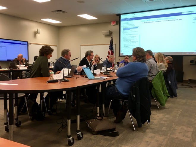 The Williamson County School Board discusses new business at its work session on Thursday.