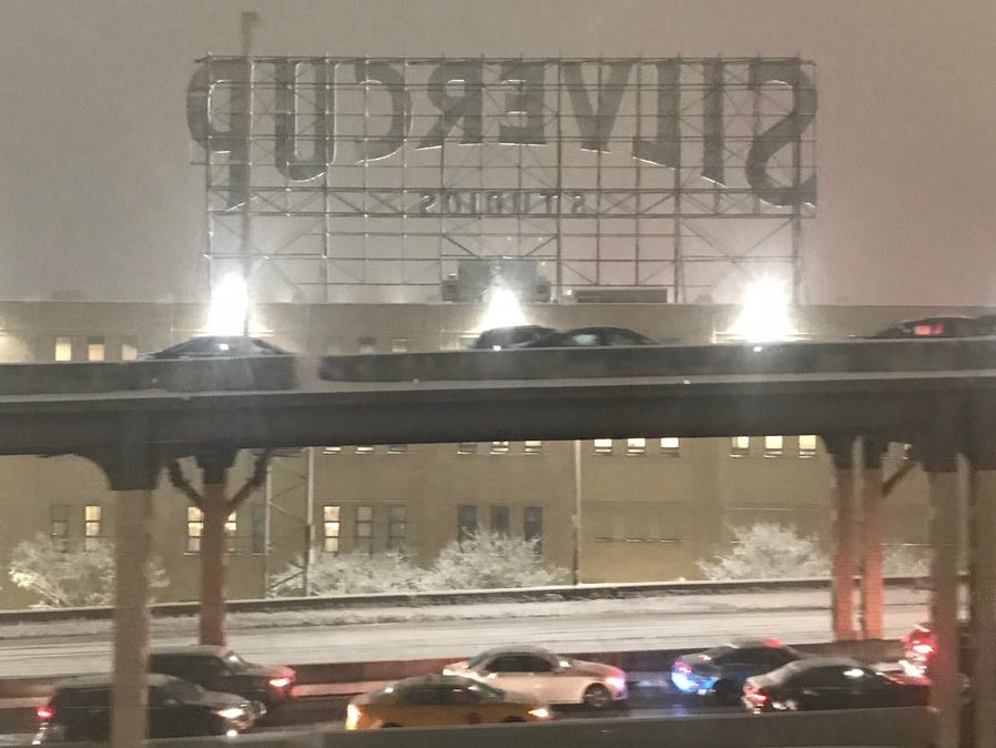 Slowed by the storm allows time to take in the Silvercup Studios sign in Long Island City, Queens, on Thursday night, Nov. 15, 2018.