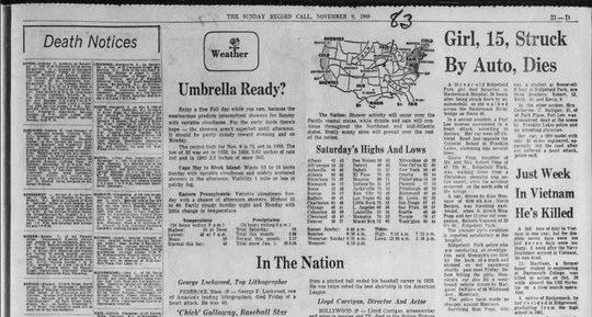 Coverage of Gloria Popp's death appeared on Page 21D of the Nov. 9 edition of The Sunday Record Call, a forerunner of The Record.