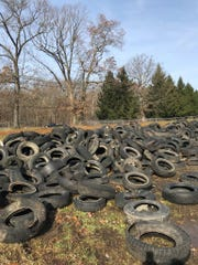 Some of the nearly 700 tires that were pulled from Lake Hopatcong during the lake-wide cleanup await recycling on Nov. 3, 2018.