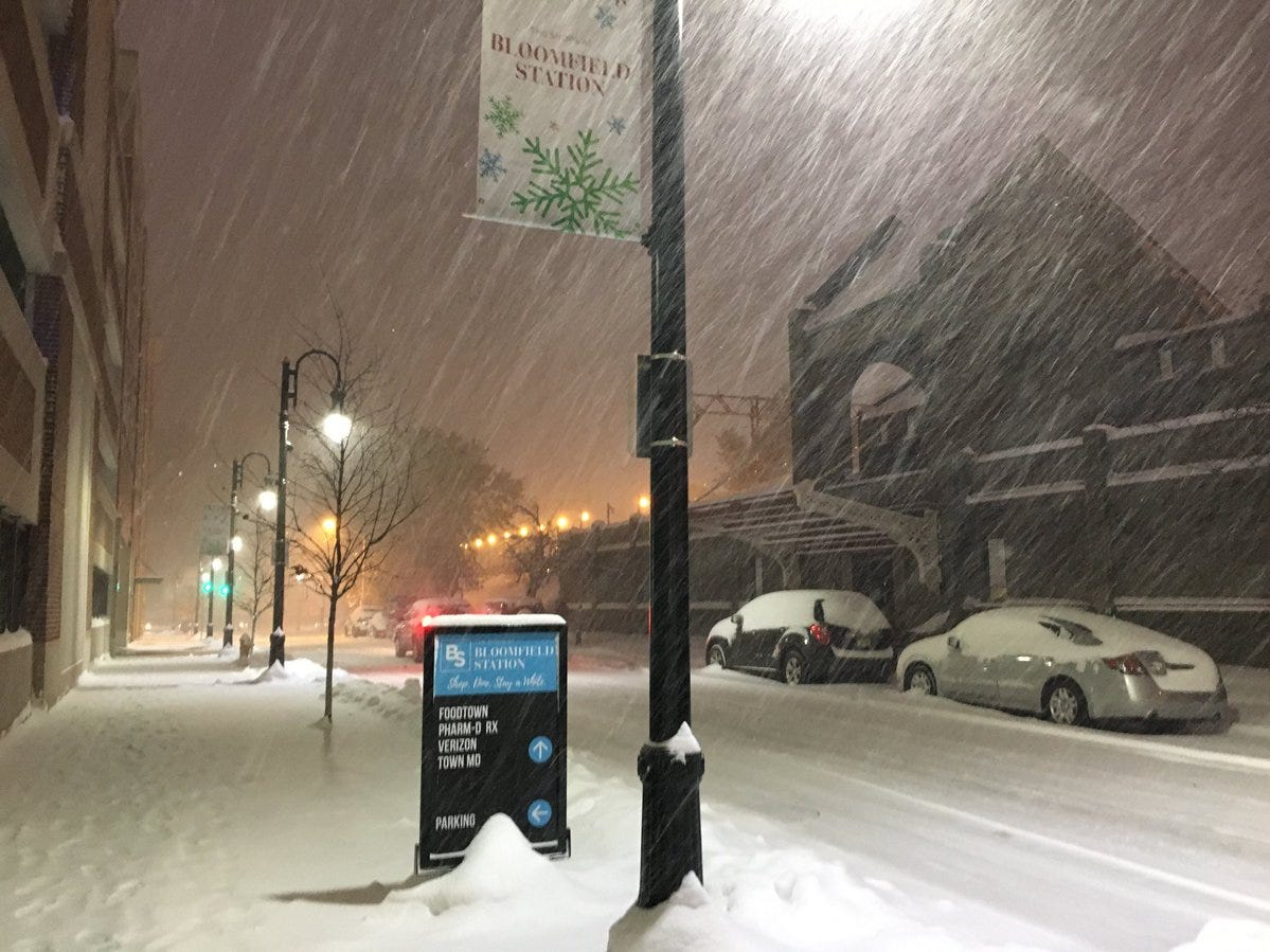 Bloomfield Station during the storm Thursday night, Nov. 15, 2018