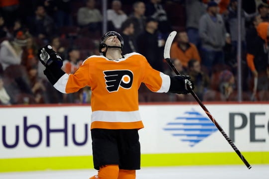 Philadelphia Flyers' Shayne Gostisbehere reacts after his goal is overturned by officials ruling goaltender interference during the first period of an NHL hockey game against the New Jersey Devils, Thursday, Nov. 15, 2018, in Philadelphia.