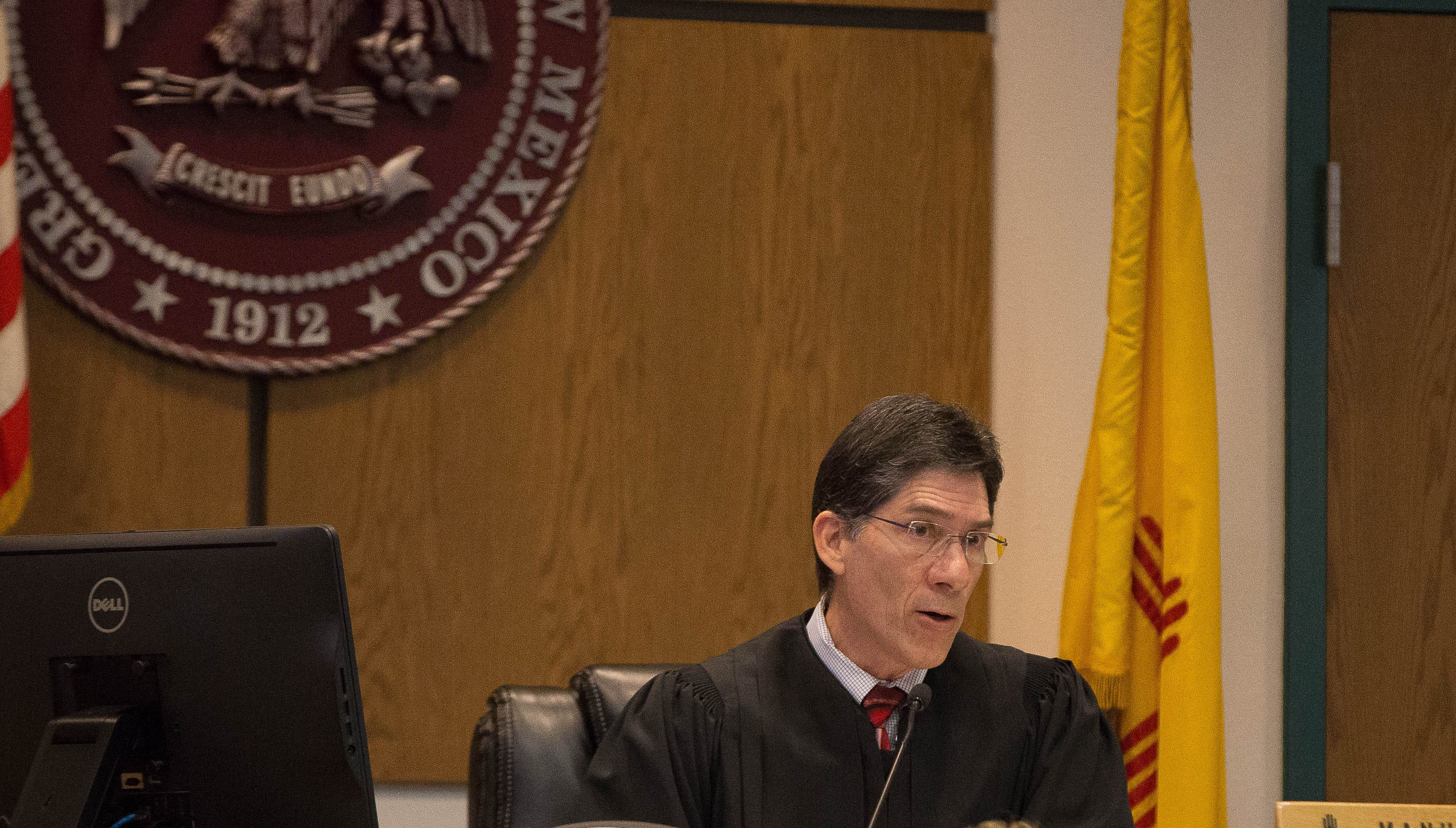 Judge Manuel Arrieta listens to Carter B. Harrison, attorney for  Yvette Herrell, who is petitioning the court to impound the absentee ballots cast in the Congressional District two election. Friday November 16, 2018.