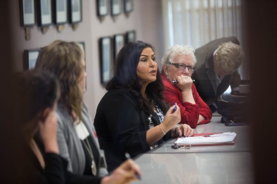 Doña Ana County County Clerk Amanda Lopez Askin, along with county attorneys and attorneys for Xochitl Torres Small in a closed-door meeting with Yvette Herrell's attorney Carter B. Harrison to discuss terms for chain of custody for absentee ballots that could potentially be impounded after Nov. 27; Friday November 16, 2018