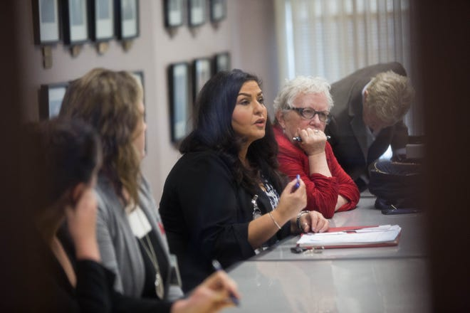 Doña Ana County County Clerk, Amanda Lopez Askin along with county attorneys and attorneys for Xochitl Torres Small  in a closed door meeting with Yvette Herrell's Attorney Carter B. Harrison, to discuss terms for chain of custody for absentee ballots that could potentially impounded after November 27th, Friday November 16, 2018 at the Third Judicial District Court.