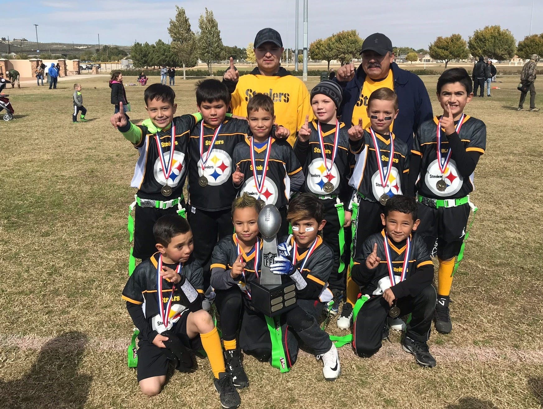 The Steelers won the 2nd-3rd grade 2018 Carlsbad NFL Flag Football Superbowl.