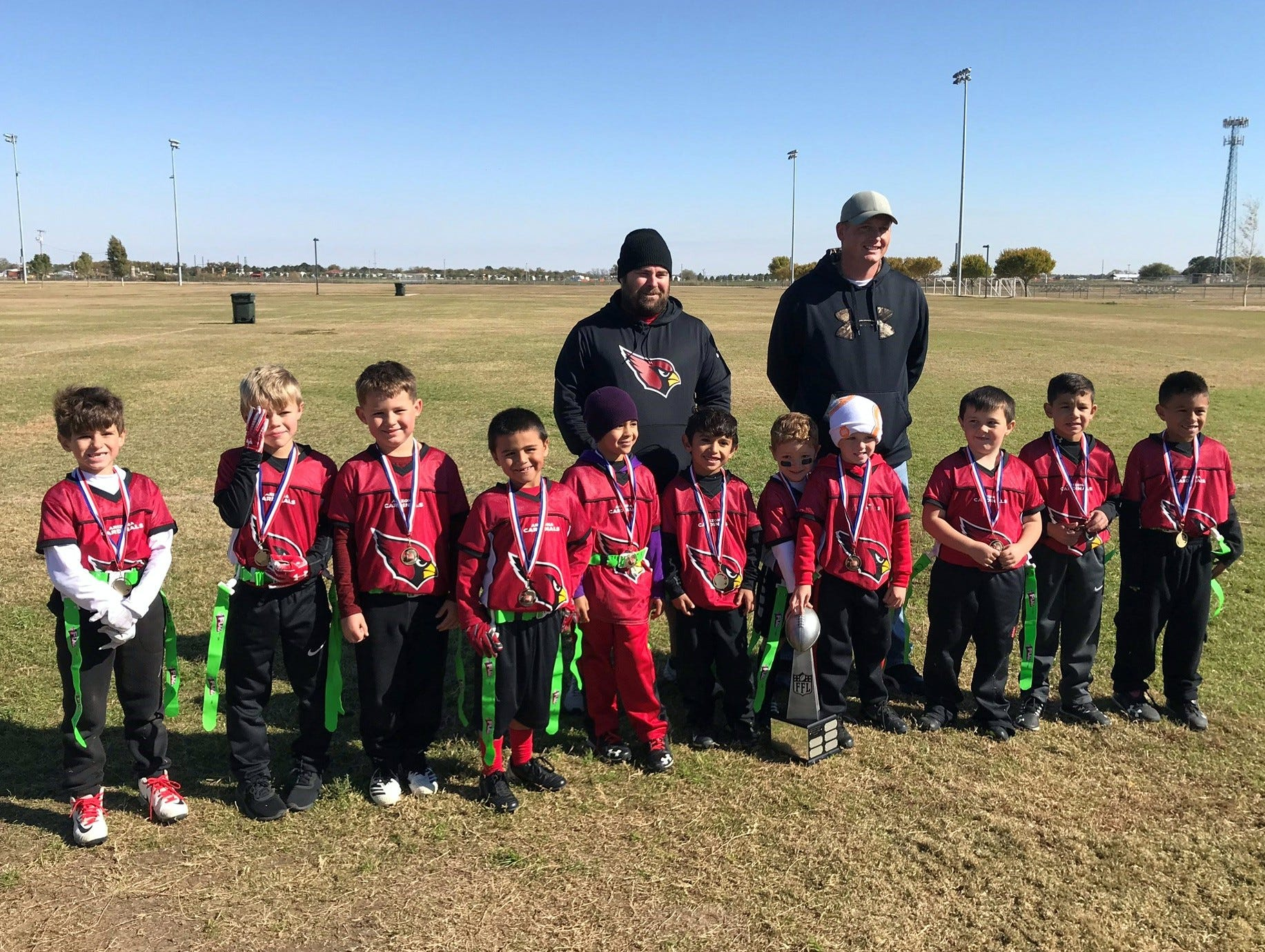 The Cardinals won the kindergarten-1st grade 2018 Carlsbad NFL Flag Football Superbowl.
