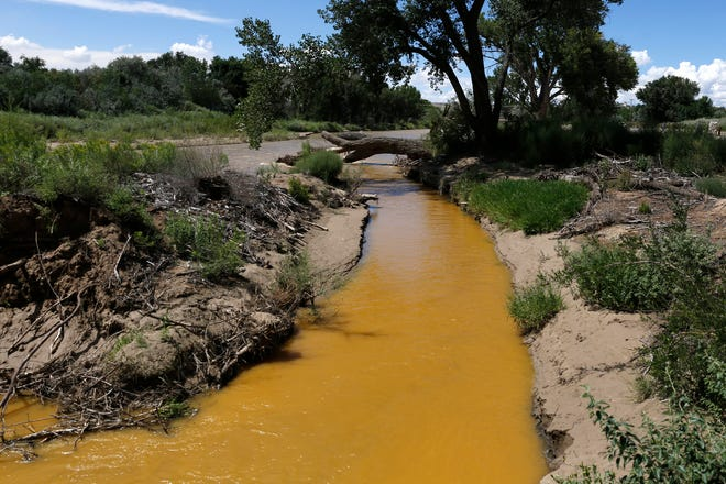 Discolored water is pictured in the Animas River near its confluence with the San Juan River in Farmington on Aug. 8, 2015, a few days after the Gold King Mine spill.