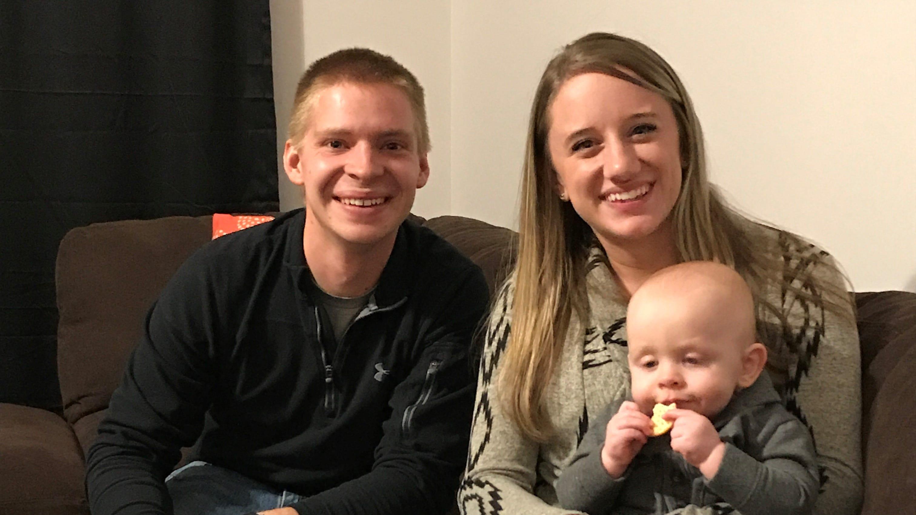 Greg (from left), Megan and Benjamin Neumer of Washington Twp. enjoy a quiet family moment. On Nov. 21, Ben turns 1.